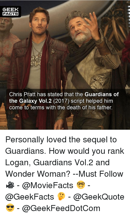 Chris Pratt, Facts, and Memes: GEEK  FACTS  Chris Pratt has stated that the Guardians of  the Galaxy Vol.2 (2017) script helped him  come to terms with the death of his father. Personally loved the sequel to Guardians. How would you rank Logan, Guardians Vol.2 and Wonder Woman? --Must Follow 🎥 - @MovieFacts 🤓 - @GeekFacts 🤔 - @GeekQuote 😎 - @GeekFeedDotCom