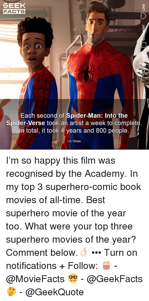 Comment Below: GEEK  FACTS  Each second of Spider-Man: Into the  Spider-Verse took an artist a week to complet  In total, it took 4 years and 800 people.  LA Times I'm so happy this film was recognised by the Academy. In my top 3 superhero-comic book movies of all-time. Best superhero movie of the year too. What were your top three superhero movies of the year? Comment below.👌🏻 ••• Turn on notifications + Follow: 🍿 - @MovieFacts 🤓 - @GeekFacts 🤔 - @GeekQuote