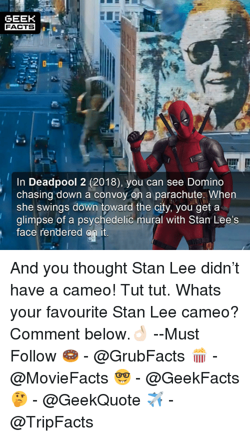 psychedelic: GEEK  FACTS  In Deadpool 2 (2018), you can see Domino  chasing down a convoy on a parachute. when  she swings down toward the city, you get a  glimpse of a psychedelic mural with Stan Lee's  Tace rendered on it And you thought Stan Lee didn't have a cameo! Tut tut. Whats your favourite Stan Lee cameo? Comment below.👌🏻 --Must Follow 🍩 - @GrubFacts 🍿 - @MovieFacts 🤓 - @GeekFacts 🤔 - @GeekQuote ✈️ - @TripFacts