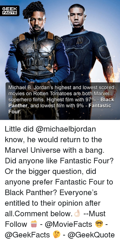 Facts,  Fantastic Four, and Jordans: GEEK  FACTS  Michael B. Jordan's highest and lowest scored  movies on Rotten Tomatoes are.both Marvel  superhero films. Highest film with 97%-Black  Panther, and lowest film with 9%-Fantastic  Four Little did @michaelbjordan know, he would return to the Marvel Universe with a bang. Did anyone like Fantastic Four? Or the bigger question, did anyone prefer Fantastic Four to Black Panther? Everyone's entitled to their opinion after all.Comment below.👌🏻 --Must Follow 🍿 - @MovieFacts 🤓 - @GeekFacts 🤔 - @GeekQuote