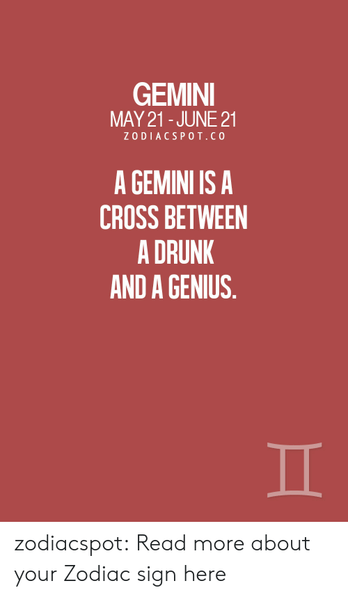 Gemini: GEMINI  MAY 21-JUNE 21  ZODIACSPOT.CO  A GEMINI IS A  CROSS BETWEEN  A DRUNK  AND A GENIUS. zodiacspot:  Read more about your Zodiac sign here