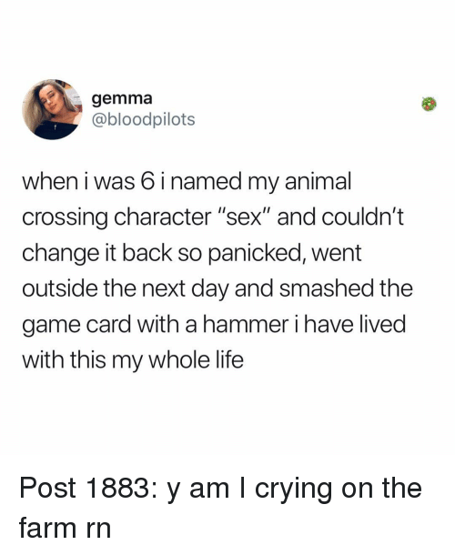 "Crying, Life, and Memes: gemma  @bloodpilots  when i was 6 i named my animal  crossing character ""sex"" and couldn't  change it back so panicked, went  outside the next day and smashed the  game card with a hammer i have lived  with this my whole life Post 1883: y am I crying on the farm rn"