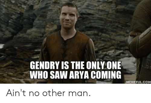 Arya: GENDRY IS THE ONLY ONE  WHO SAW ARYA COMING  MEMEFUL.COM Ain't no other man.