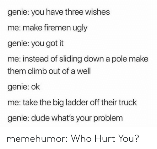 Dude, Tumblr, and Ugly: genie: you have three wishes  me: make firemen ugly  genie: you got it  me: instead of sliding down a pole make  them climb out of a well  genie: ok  me: take the big ladder off their truck  genie: dude what's your problem memehumor:  Who Hurt You?