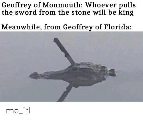 Florida, Sword, and Irl: Geoffrey of Monmouth: Whoever pulls  the sword from the stone will be king  Meanwhile, from Geoffrey of Florida: me_irl