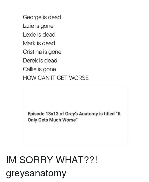 """Memes, 🤖, and Grey Anatomy: George is dead  Izzie is gone  Lexie is dead  Mark is dead  Cristina is gone  Derek is dead  Callie is gone  HOW CAN IT GET WORSE  Episode 13x13 of Grey's Anatomy is titled """"It  Only Gets Much Worse"""" IM SORRY WHAT??! greysanatomy"""