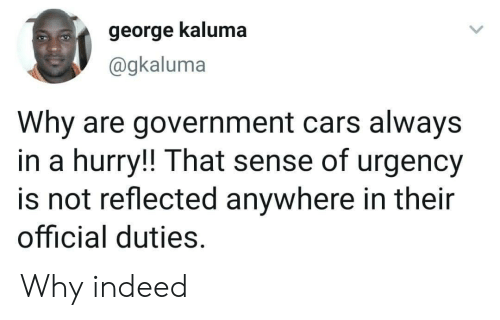 hurry: george kaluma  @gkaluma  Why are government cars always  in a hurry!! That sense of urgency  is not reflected anywhere in their  official duties. Why indeed