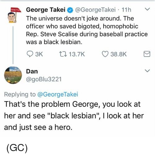 """George Takei: George Takei  @GeorgeTakei 11h  The universe doesn't joke around. The  officer who saved bigoted, homophobic  Rep. Steve Scalise during baseball practice  was a black lesbian.  S 3K  38.8K  13.7K  Dan  @goBlu 3221  Replying to @George Takei  That's the problem George, you look at  her and see """"black lesbian"""", l look at her  and just see a hero. (GC)"""