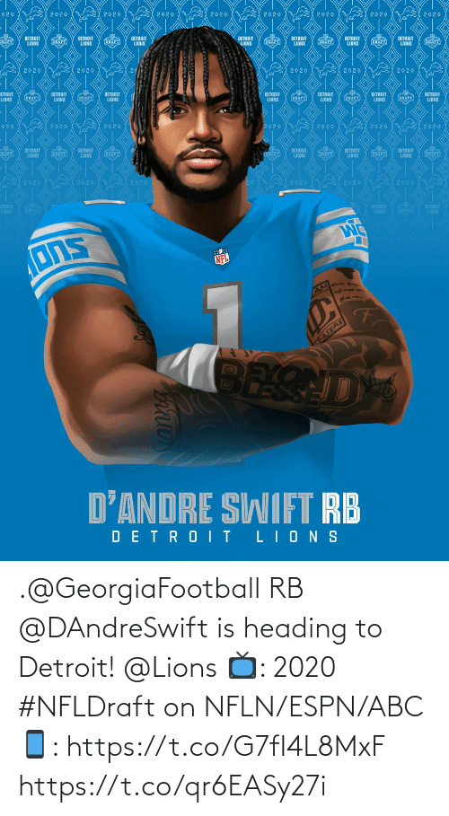 Lions: .@GeorgiaFootball RB @DAndreSwift is heading to Detroit! @Lions   📺: 2020 #NFLDraft on NFLN/ESPN/ABC 📱: https://t.co/G7fI4L8MxF https://t.co/qr6EASy27i