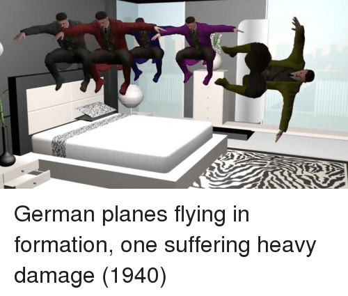 Formation: German planes flying in formation, one suffering heavy damage (1940)