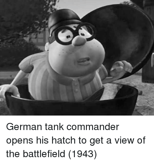 Battlefield: German tank commander opens his hatch to get a view of the battlefield (1943)