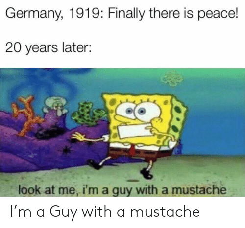 Reddit, Germany, and Peace: Germany, 1919: Finally there is peace!  20 years later:  look at me, i'm a guy with a mustache I'm a Guy with a mustache