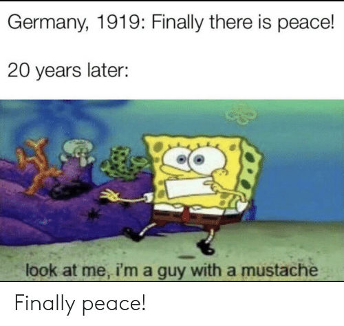 Reddit, Germany, and Peace: Germany, 1919: Finally there is peace!  20 years later:  look at me, i'ma guy with a mustache Finally peace!