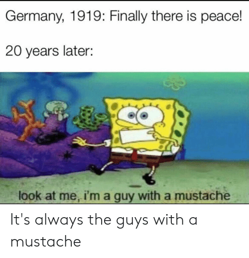 Germany, Dank Memes, and Peace: Germany, 1919: Finally there is peace!  20 years later:  look at me, i'm a guy with a mustache It's always the guys with a mustache