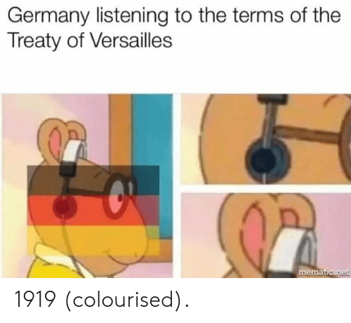 versailles: Germany listening to the terms of the  Treaty of Versailles  ema 1919 (colourised).