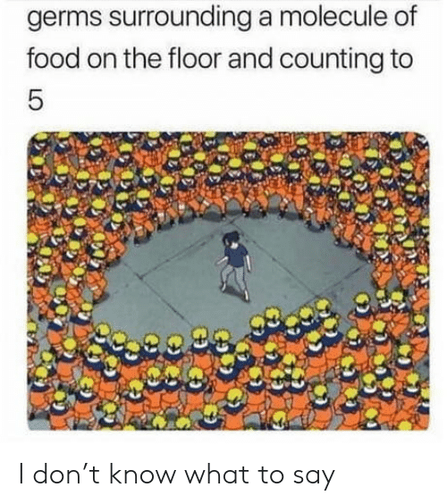 T Know: germs surrounding a molecule of  food on the floor and counting to  5 I don't know what to say