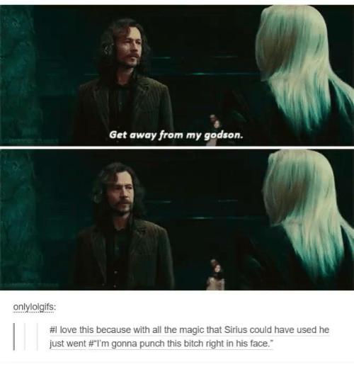 godson: Get away from my godson.  onlylolgifs:  HI love this because with all the magic that Sirius could have used he  just went #I'm gonna punch this bitch right in his face