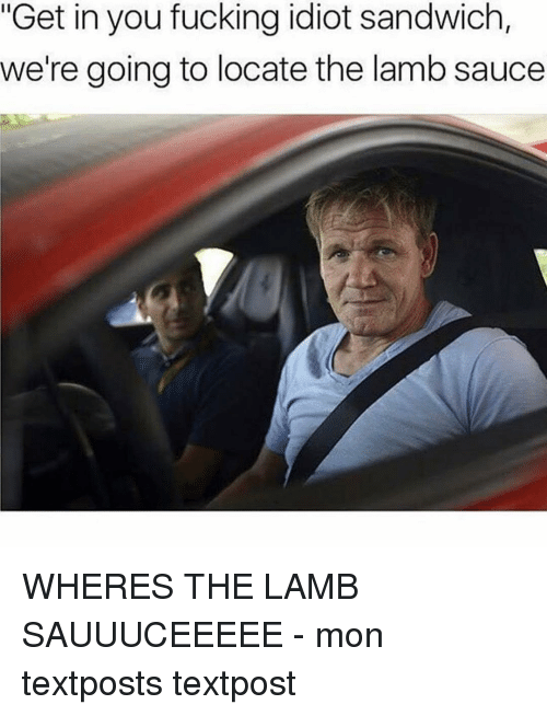 """Lamb Sauce: """"Get in you fucking idiot sandwich,  we're going to locate the lamb sauce WHERES THE LAMB SAUUUCEEEEE - mon textposts textpost"""