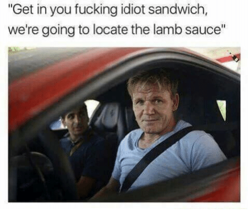"""Lamb Sauce: """"Get in you fucking idiot sandwich,  we're going to locate the lamb sauce"""""""