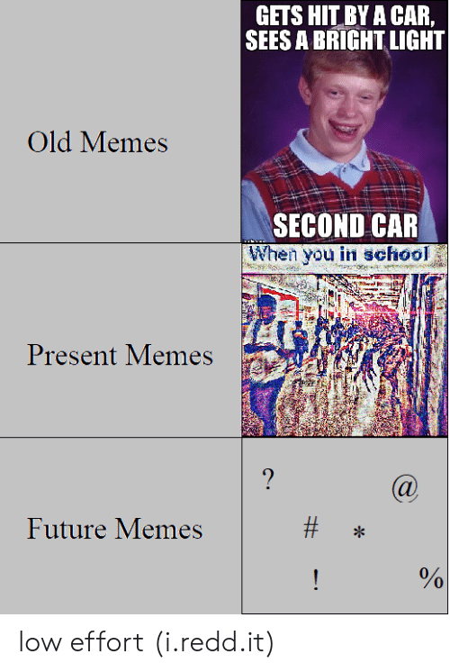 Bright Light: GETS HIT BY A CAR,  SEES A BRIGHT LIGHT  Old Memes  SECOND CAR  When you in school  Present Memes  Future Memes  3  0  0 low effort (i.redd.it)