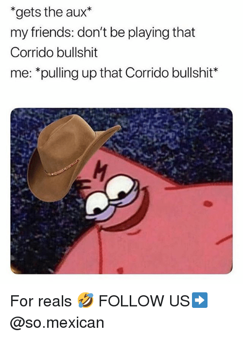For Reals: *gets the aux*  my friends: don't be playing that  Corrido bullshit  me: *pulling up that Corrido bullshit* For reals 🤣 FOLLOW US➡️ @so.mexican