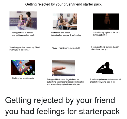 Getting Rejected by Your Crushfriend Starter Pack Master