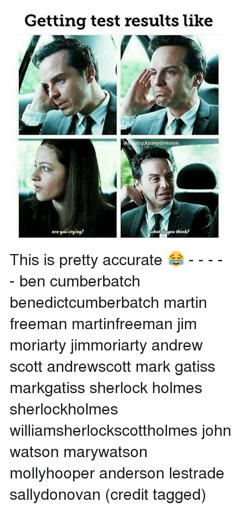 holms: Getting test results like  kismy division  what u think?  are you crying? This is pretty accurate 😂 - - - - - ben cumberbatch benedictcumberbatch martin freeman martinfreeman jim moriarty jimmoriarty andrew scott andrewscott mark gatiss markgatiss sherlock holmes sherlockholmes williamsherlockscottholmes john watson marywatson mollyhooper anderson lestrade sallydonovan (credit tagged)