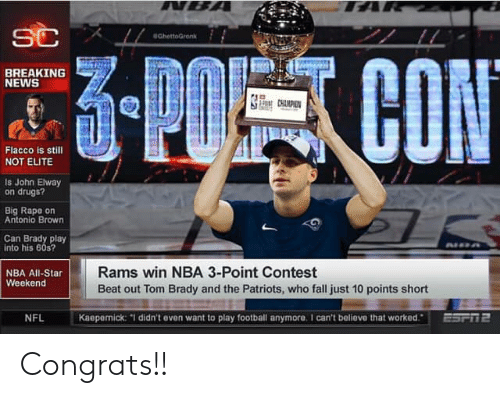 """nba all star weekend: GhettoGrenk  BREAKING  NEWS  Flacco is still  NOT ELITE  Is John Elway  on drugs?  Big Rape on  Antonio Brown  Can Brady play  into his 605  NBA All-Star  Weekend  Rams win NBA 3-Point Contest  Beat out Tom Brady and the Patriots, who fall just 10 points short  NFL  Kaepernick: """"1 didn't even want to play football anymore. 1 can't believe that worked.ESFTE Congrats!!"""