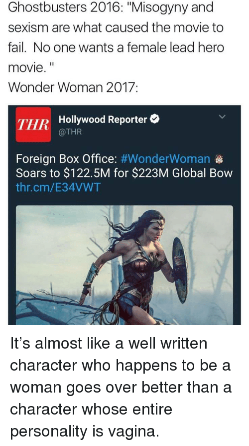 """hero movie: Ghostbusters 2016: """"Misogyny and  sexism are what caused the movie to  fail. No one wants a female lead hero  movie.""""  Wonder Woman 2017:  THR  Hollywood Reporter  @THR  Foreign Box Office: #WonderWoman  Soars to $122.5M for $223M Global Bow  thr.cm/E34VWT <p>It&rsquo;s almost like a well written character who happens to be a woman goes over better than a character whose entire personality is vagina.</p>"""