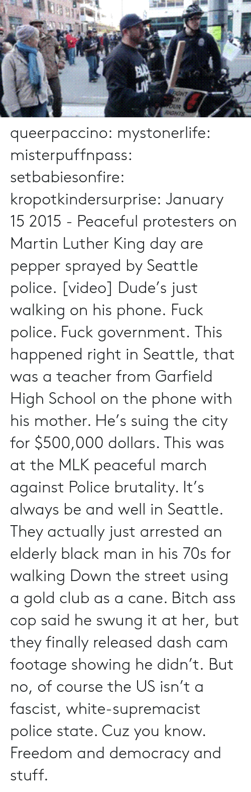 Black Man: GHT  RGNTS queerpaccino: mystonerlife:  misterpuffnpass:  setbabiesonfire:  kropotkindersurprise: January 15 2015 - Peaceful protesters on Martin Luther King day are pepper sprayed by Seattle police. [video] Dude's just walking on his phone.  Fuck police. Fuck government.  This happened right in Seattle, that was a teacher from Garfield High School on the phone with his mother. He's suing the city for $500,000 dollars. This was at the MLK peaceful march against Police brutality. It's always be and well in Seattle. They actually just arrested an elderly black man in his 70s for walking Down the street using a gold club as a cane. Bitch ass cop said he swung it at her, but they finally released dash cam footage showing he didn't.  But no, of course the US isn't a fascist, white-supremacist police state. Cuz you know. Freedom and democracy and stuff.