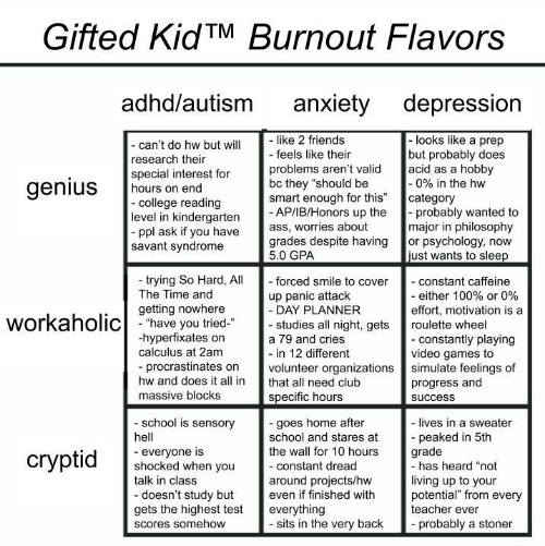 "Philosophy: Gifted KidTM Burnout Flavors  adhd/autism  anxiety depression  like 2 friends  - feels like their  -looks like a prep  but probably does  acid as a hobby  -0% in the hw  category  probably wanted to  major in philosophy  or psychology, now  just wants to sleep  - can't do hw but will  research their  special interest for  hours on end  -college reading  level in kindergarten  ppl ask if you have  savant syndrome  problems aren't valid  bc they ""should be  smart enough for this""  - AP/IB/Honors up the  ass, worries about  grades despite having  5.0 GPA  genius  trying So Hard, All  The Time and  - forced smile to cover  - constant caffeine  - either 100% or 0%  effort, motivation is a  up panic attack  - DAY PLANNER  - studies all night, gets  getting nowhere  workaholichave you tried  roulette wheel  hyperfixates on  calculus at 2am  - constantly playing  video games to  simulate feelings of  progress and  a 79 and cries  - in 12 different  volunteer organizations  procrastinates on  hw and does it all in  that all need club  massive blocks  specific hours  success  school is sensory  -goes home after  school and stares at  the wall for 10 hours  - lives in a sweater  peaked in 5th  grade  -has heard ""not  hell  everyone is  shocked when you  talk in class  сryptid  -constant dread  living up to your  potential"" from every  teacher ever  around projects/hw  even if finished with  -doesn't study but  gets the highest test  everything  - sits in the very back  probably a stoner  Scores somehow"