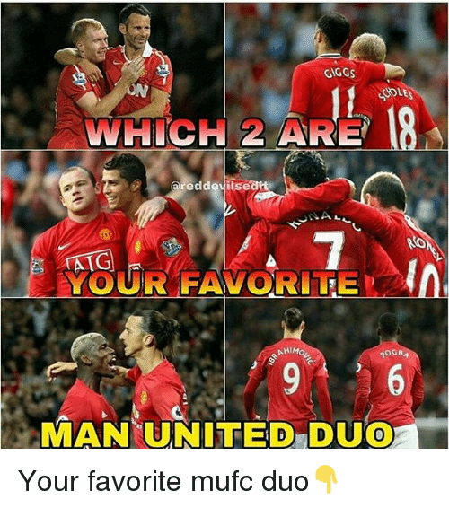 """Giggs: GIGGS  WHICH 2 ARE  areddevils  YOUR FAVORITE  0  MAN(UNITED""""DUO  0 Your favorite mufc duo👇"""