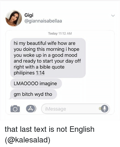 Beautiful, Bitch, and Mood: Gigi  @giannaisabellaa  Today 11:12 AM  hi my beautiful wife how are  you doing this morning i hope  you woke up in a good mood  and ready to start your day off  right with a bible quote  philipines 1:14  LMAOOOO imagine  gm bitch wyd tho  Message that last text is not English (@kalesalad)