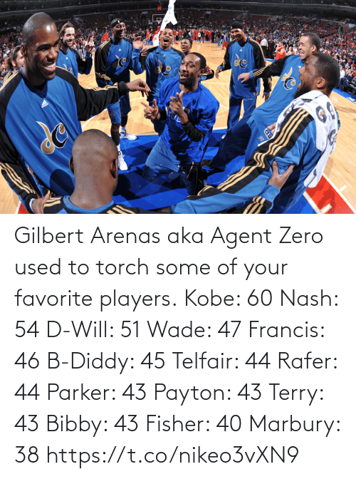 agent: Gilbert Arenas aka Agent Zero used to torch some of your favorite players.  Kobe: 60 Nash: 54 D-Will: 51 Wade: 47 Francis: 46 B-Diddy: 45 Telfair: 44 Rafer: 44 Parker: 43 Payton: 43 Terry: 43 Bibby: 43 Fisher: 40 Marbury: 38   https://t.co/nikeo3vXN9