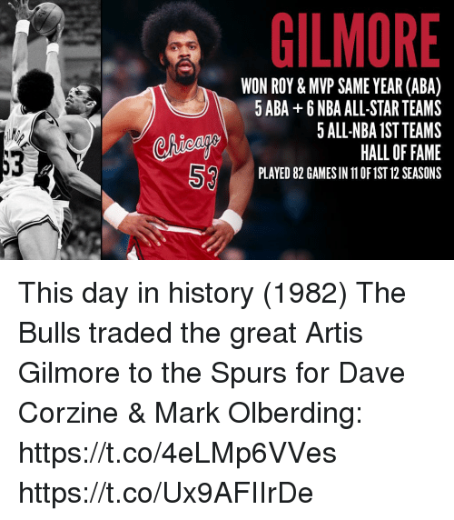 nba all stars: -, , , GILMORE  WON ROY & MVP SAME YEAR (ABA)  5 ABA +6 NBA ALL-STAR TEAMS  5 ALL-NBA 1ST TEAMS  HALL OF FAME  PLAYED 82 GAMES IN 11 OF 1ST 12 SEASONS  liea  53 This day in history (1982) The Bulls traded the great Artis Gilmore to the Spurs for Dave Corzine & Mark Olberding: https://t.co/4eLMp6VVes https://t.co/Ux9AFIIrDe