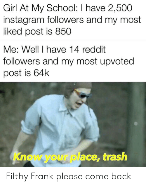 Filthy Frank: Girl At My School: I have 2,500  instagram followers and my most  liked post is 850  Me: Well I have 14 reddit  followers and my most upvoted  post is 64k  Know your place, trash Filthy Frank please come back