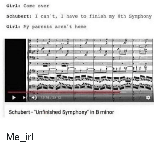 "Come Over, Parents, and Girl: Girl: Come over  Schubert: I can't, I have to finish my 8th Symphony  Girl: My parents aren't home  0  Schubert ""Unfinished Symphony"" in B minor Me_irl"