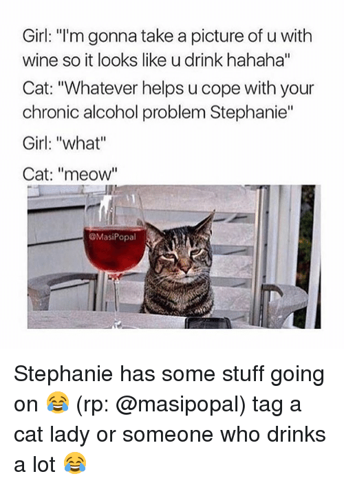 """Meowe: Girl: """"I'm gonna take a picture of u with  wine so it looks like u drink hahaha""""  Cat: """"Whatever helps u cope with your  chronic alcohol problem Stephanie""""  Girl: """"what""""  Cat: """"meow""""  ㄩㄧ  MasiPopal Stephanie has some stuff going on 😂 (rp: @masipopal) tag a cat lady or someone who drinks a lot 😂"""