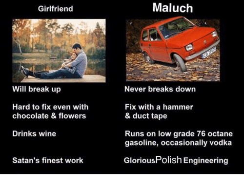 Wine, Work, and Break: Girlfriend  Maluch  Will break up  Never breaks down  Hard to fix even with  chocolate & flowers  Fix with a hammer  & duct tape  Drinks wine  Runs on low grade 76 octane  gasoline, occasionally vodka  Satan's finest work  GloriousPolish Engineering