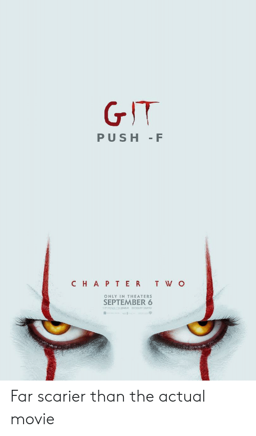 cinema: GIT  PUSH F  CHAP TER T W O  ONLY IN THEATERS  SEPTEMBER 6  ENPERENCE IT INMAX  0OLY CINEMA Far scarier than the actual movie