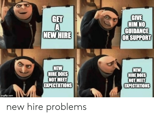 hire: GIVE  HIM NO  GUIDANCE  OR SUPPORT  GET  NEW HIRE  NEW  HIRE DOES  NOT MEET  EXPECTATIONS  NEW  HIRE DOES  NOT MEET  EХPЕСTАTIONS  imgfilip.com new hire problems