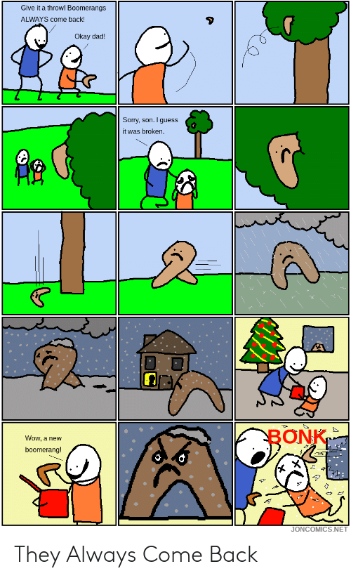 Dad, Sorry, and Wow: Give it a throw! Boomerangs  ALWAYS come back!  Okay dad!  Sorry, son. I guess  it was broken.  BONK  Wow, a new  boomerang!  JONCOMICS.NET They Always Come Back