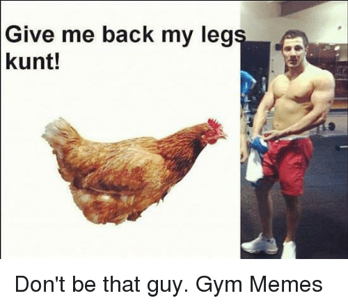 gym memes: Give me back my leg  kunt! Don't be that guy.  Gym Memes