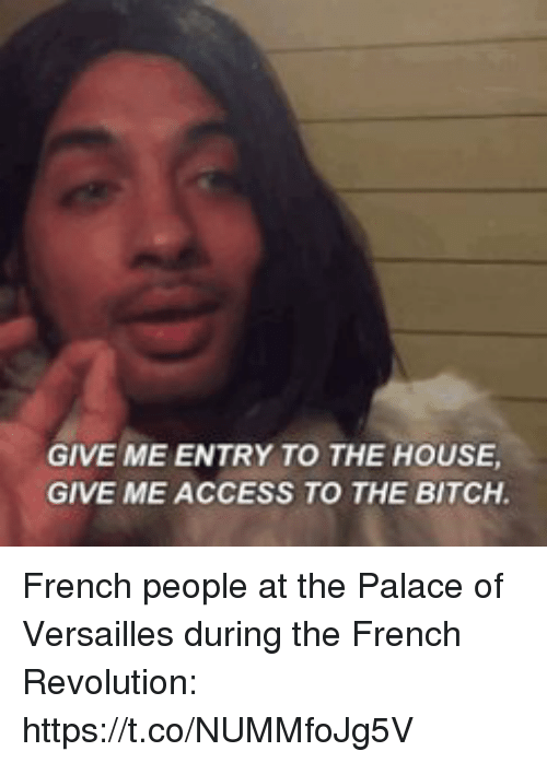 French People: GIVE ME ENTRY TO THE HOUSE  GIVE ME ACCESS TO THE BITCH French people at the Palace of Versailles during the French Revolution: https://t.co/NUMMfoJg5V