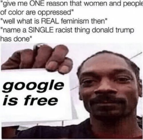 "A Single: ""give me ONE reason that women and people  of color are oppressed""  ""well what is REAL feminism then""  ""name a SINGLE racist thing donald trump  has done""  google  is free"