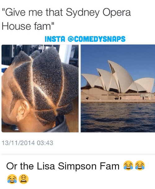 "Fam, Lisa Simpson, and Memes: ""Give me that Sydney Opera  House famil  INSTA COMEDYSNAPS  13/11/2014 03:43 Or the Lisa Simpson Fam 😂😂😂😩"