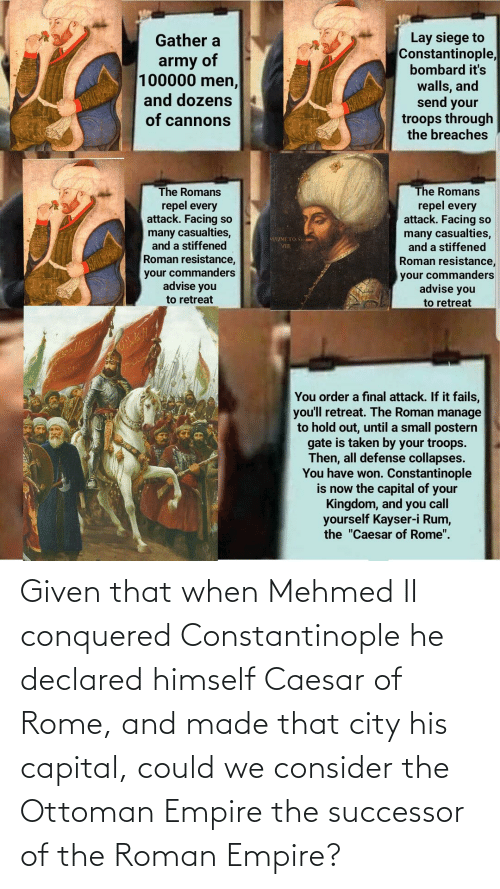 Successor: Given that when Mehmed II conquered Constantinople he declared himself Caesar of Rome, and made that city his capital, could we consider the Ottoman Empire the successor of the Roman Empire?
