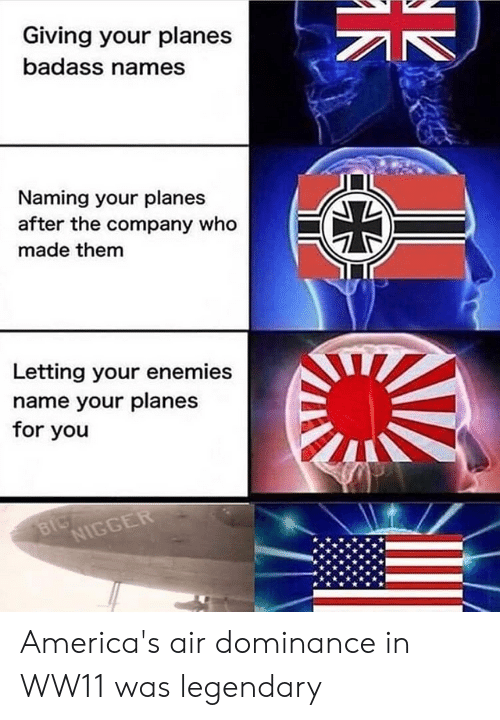 Reddit, Badass, and Enemies: Giving your planes  badass names  Naming your planes  after the company who  made them  Letting your enemies  name your planes  for you America's air dominance​ in WW11 was legendary​