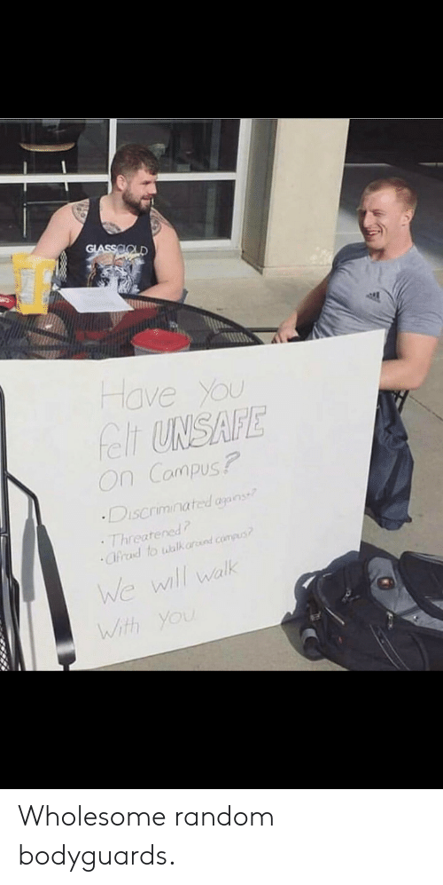 ard: GLASSOOLD  Have You  felt UNSAFE  On Campus?  Discriminated agans  Threatened  Cfrad to walk ard.compus  We wll walk  With You Wholesome random bodyguards.