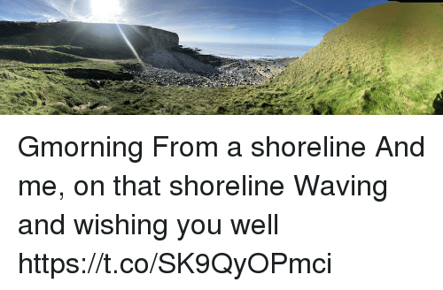 Memes, 🤖, and You: Gmorning From a shoreline And me, on that shoreline Waving and wishing you well https://t.co/SK9QyOPmci